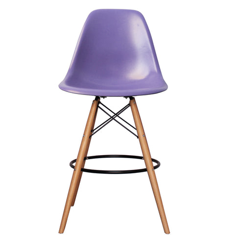 CHARLES EAMES Style Purple Plastic Retro DSB Bar Stool - directhomeliving