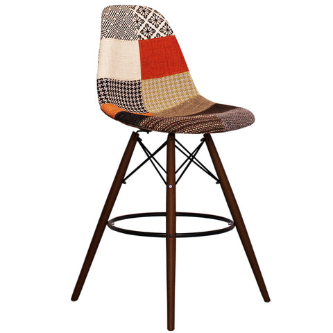 CHARLES EAMES Style Patchwork Fabric Retro Walnut DSB Bar Stool - directhomeliving