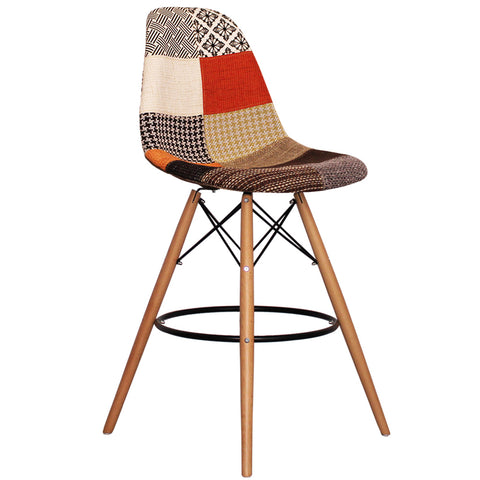 CHARLES EAMES Style Patchwork Fabric Retro DSB Bar Stool - directhomeliving