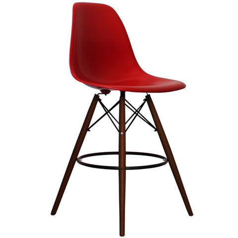 CHARLES EAMES Style Red Plastic Retro Walnut DSB Bar Stool - directhomeliving