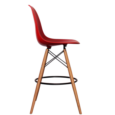 CHARLES EAMES Style Red Plastic Retro DSB Bar Stool - directhomeliving
