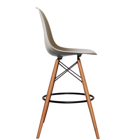 CHARLES EAMES Style Beige Plastic Retro DSB Bar Stool - directhomeliving