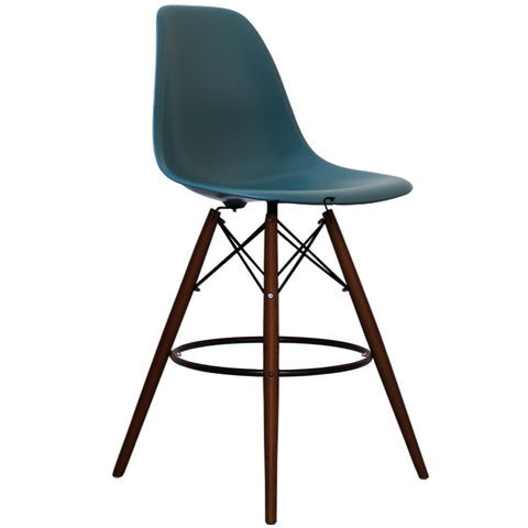 CHARLES EAMES Style Teal Plastic Retro Walnut DSB Bar Stool