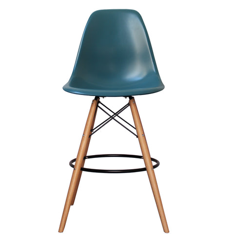 CHARLES EAMES Style Teal Plastic Retro DSB Bar Stool - directhomeliving