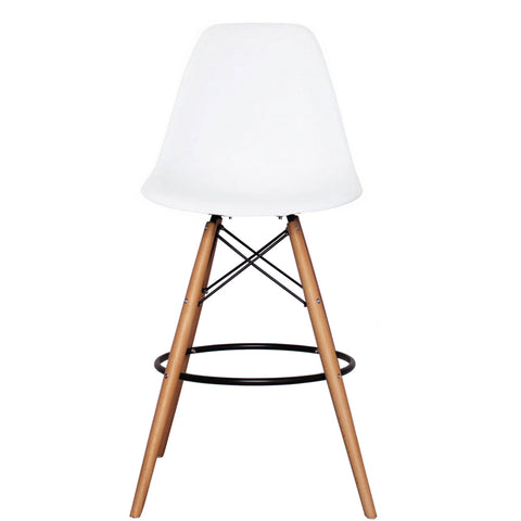 CHARLES EAMES Style White Plastic Retro DSB Bar Stool - directhomeliving