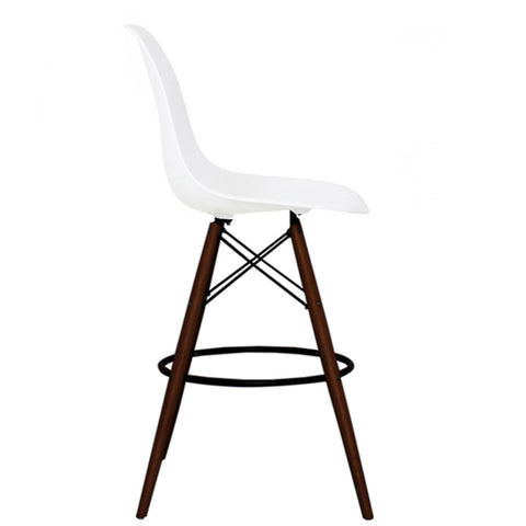 CHARLES EAMES Style White Plastic Retro Walnut DSB Bar Stool - directhomeliving