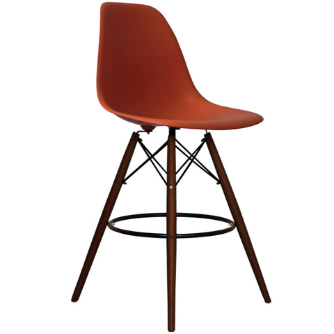 CHARLES EAMES Style Brick Red Plastic Retro Walnut DSB Bar Stool - directhomeliving