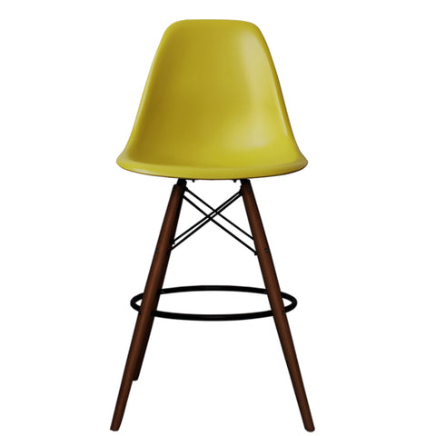 CHARLES EAMES Style Mustard Plastic Retro Walnut DSB Bar Stool - directhomeliving