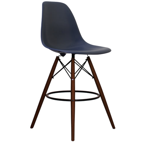 CHARLES EAMES Style Navy Blue Plastic Retro Walnut DSB Bar Stool - directhomeliving
