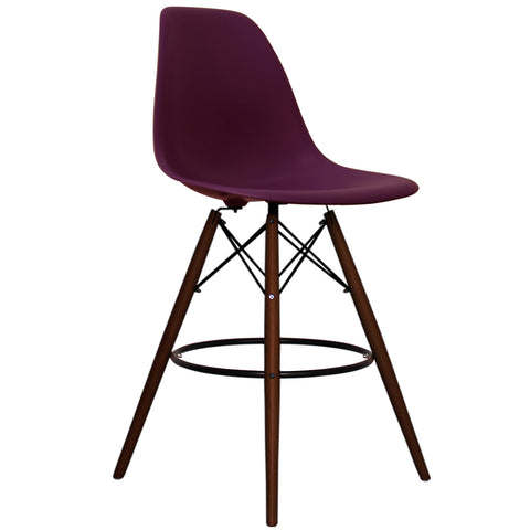 CHARLES EAMES Style Plum Plastic Retro Walnut DSB Bar Stool