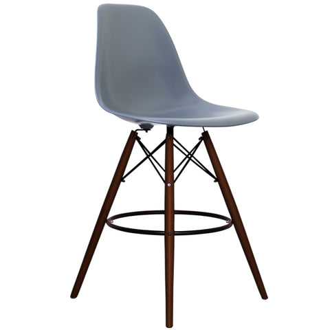 CHARLES EAMES Style Steel Blue Plastic Retro Walnut DSB Bar Stool - directhomeliving