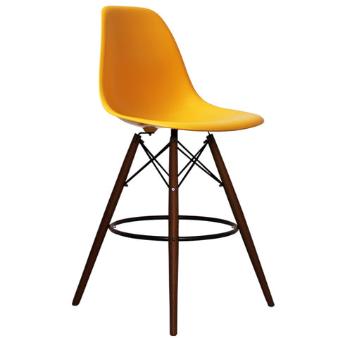 CHARLES EAMES Style Yellow Plastic Retro Walnut DSB Bar Stool