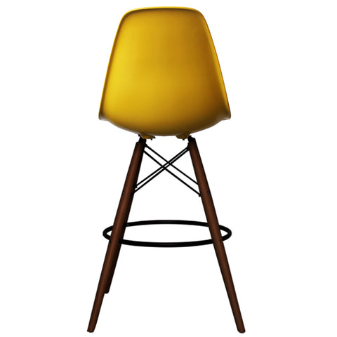 CHARLES EAMES Style Yellow Plastic Retro Walnut DSB Bar Stool - directhomeliving