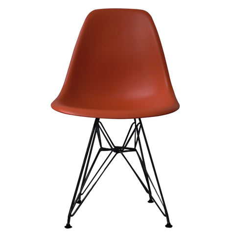 CHARLES EAMES Style Brick Red Plastic Retro DSR Side Chair with Black Legs - directhomeliving