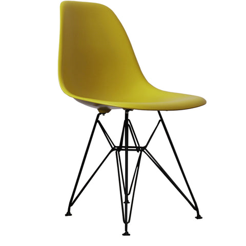 CHARLES EAMES Style Mustard Plastic Retro DSR Side Chair with Black Legs - directhomeliving