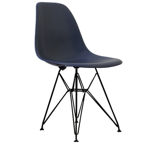 CHARLES EAMES Style Navy Blue Plastic Retro DSR Side Chair with Black Legs - directhomeliving