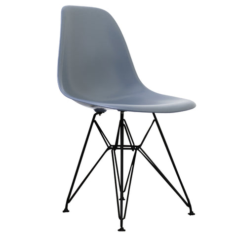 CHARLES EAMES Style Steel Blue Plastic Retro DSR Side Chair with Black Legs - directhomeliving