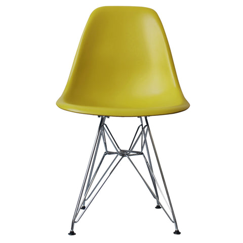 CHARLES EAMES Style Mustard Plastic Retro DSR Side Chair - directhomeliving