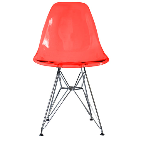 CHARLES EAMES Style Ghost Red Plastic Retro DSR Side Chair - directhomeliving
