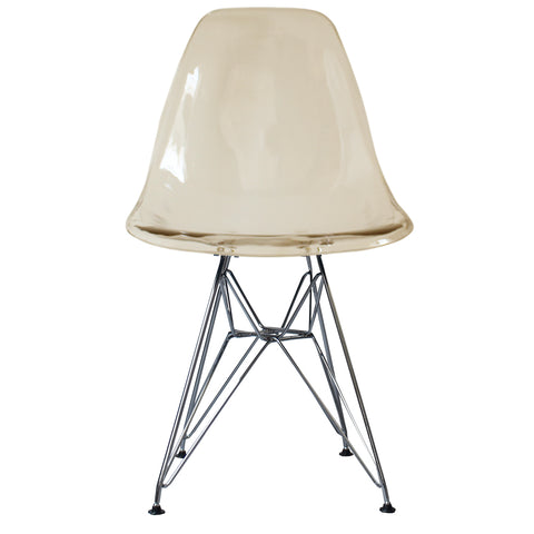 CHARLES EAMES Style Ghost Smoke Plastic Retro DSR Side Chair
