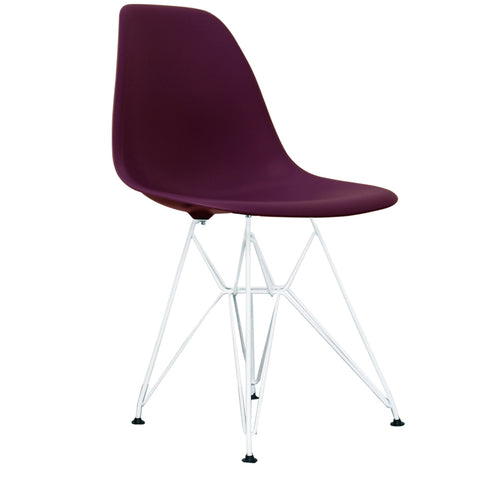 CHARLES EAMES Style Plum Plastic Retro DSR Side Chair with White Legs - directhomeliving