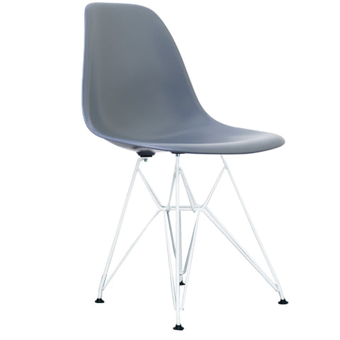 CHARLES EAMES Style Steel Blue Plastic Retro DSR Side Chair with White Legs - directhomeliving