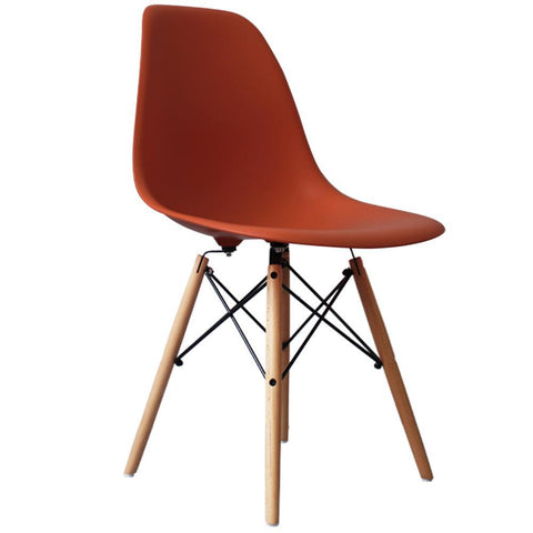 CHARLES EAMES Style Brick Red Plastic Retro DSW Side Chair - directhomeliving