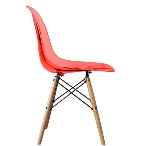 CHARLES EAMES Style Ghost Red Plastic Retro DSW Side Chair - directhomeliving