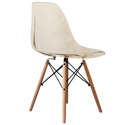 CHARLES EAMES Style Ghost Smoke Plastic Retro DSW Side Chair - directhomeliving