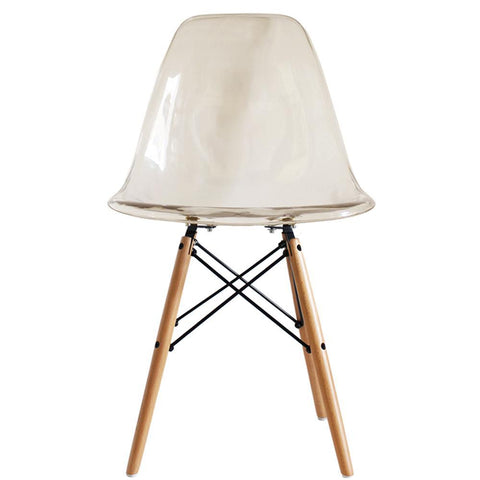 CHARLES EAMES Style Ghost Smoke Plastic Retro DSW Side Chair