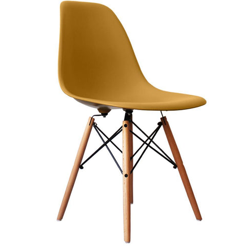 CHARLES EAMES Style Gold Plastic Retro DSW Side Chair - directhomeliving