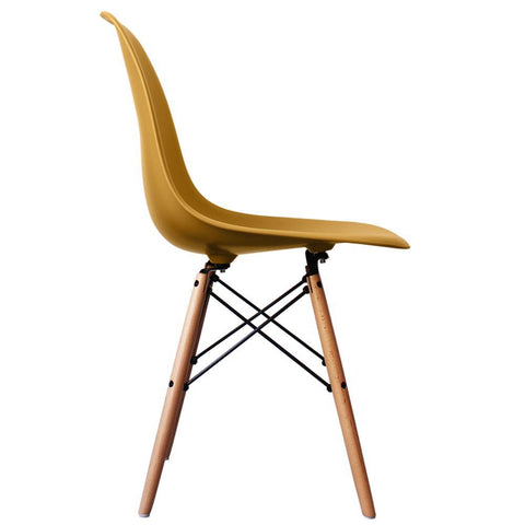 CHARLES EAMES Style Gold Plastic Retro DSW Side Chair