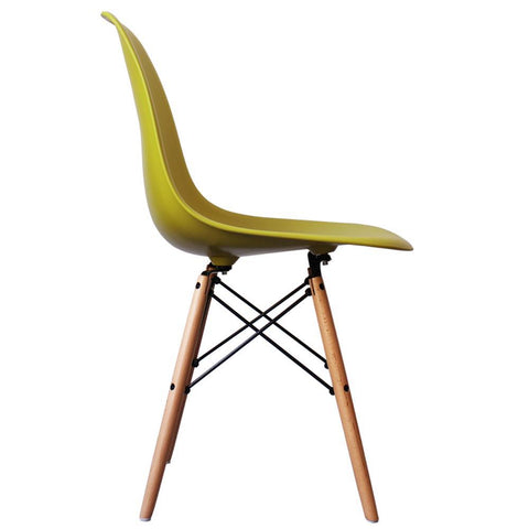CHARLES EAMES Style Mustard Plastic Retro DSW Side Chair - directhomeliving