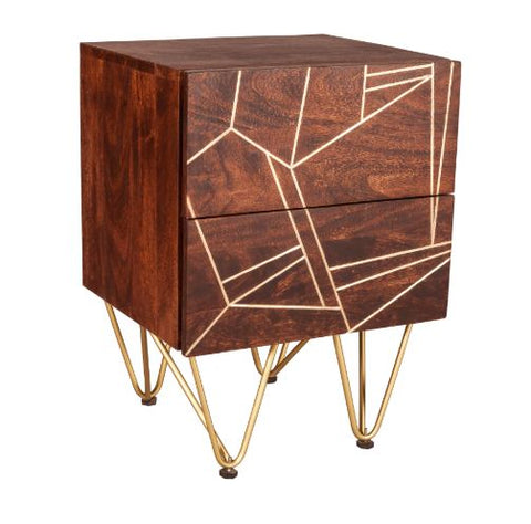 Dark Gold 2 Drawer Side Table - directhomeliving