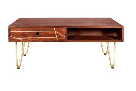 Dark Gold Rectangular Coffee Table with Drawer - directhomeliving