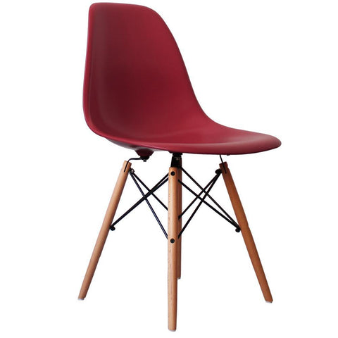 CHARLES EAMES Style Burgundy Plastic Retro DSW Side Chair - directhomeliving