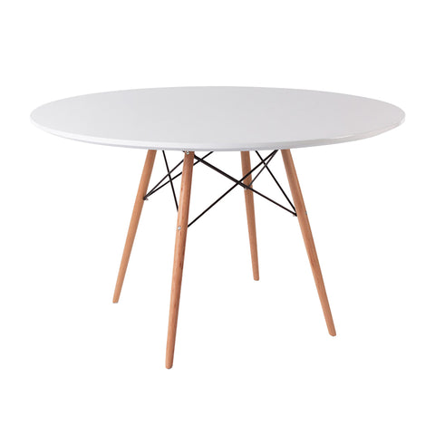 Eames Style 120cm Beechwood Leg White Round Dining Table - directhomeliving