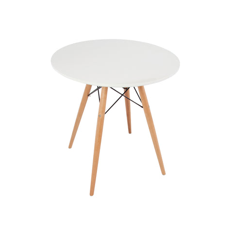 Eames Style 70cm Beechwood Leg White Round Dining Table - directhomeliving