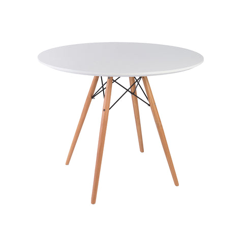Eames Style 90cm Beechwood Leg White Round Dining Table - directhomeliving