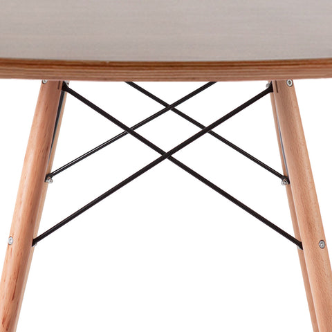 Eames Style 90cm Beechwood Leg Walnut Round Dining Table - directhomeliving