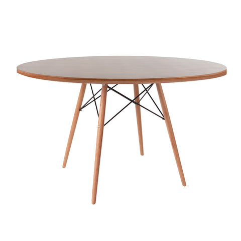 Eames Style 120cm Beechwood Leg Walnut Round Dining Table - directhomeliving