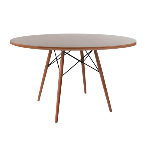 Eames Style 120cm Walnut Round Dining Table - directhomeliving