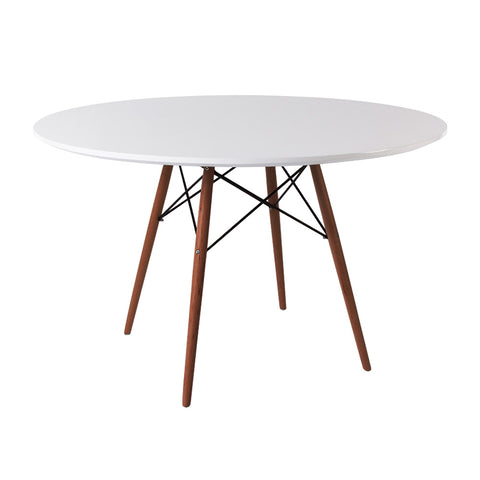 Eames Style 120cm Walnut Leg White Round Dining Table - directhomeliving