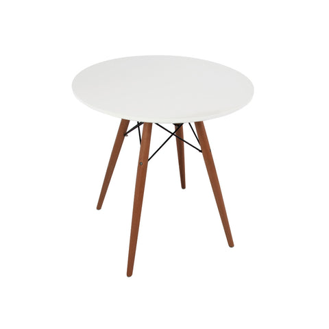 Eames Style 70cm Walnut Leg White Round Dining Table - directhomeliving