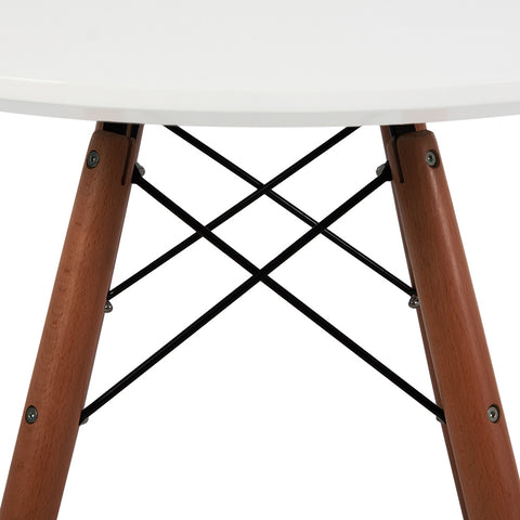 Eames Style 90cm Walnut Leg White Round Dining Table - directhomeliving