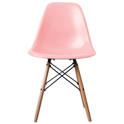 CHARLES EAMES Style Pastel Pink Plastic Retro DSW Side Chair - directhomeliving