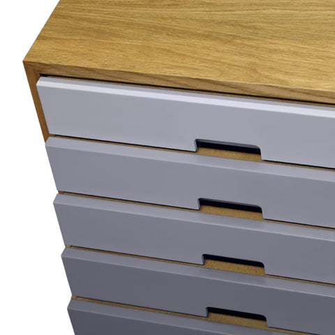 Harmonia Grey Drawer Oak Sideboard - directhomeliving