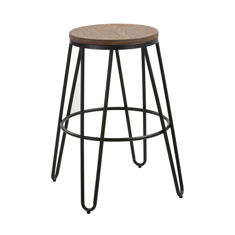 Ikon Wood Top Black Clip Legs Bar Stool - directhomeliving