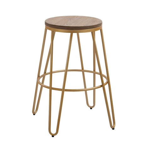 Ikon Wood Top Gold Clip Legs Bar Stool - directhomeliving