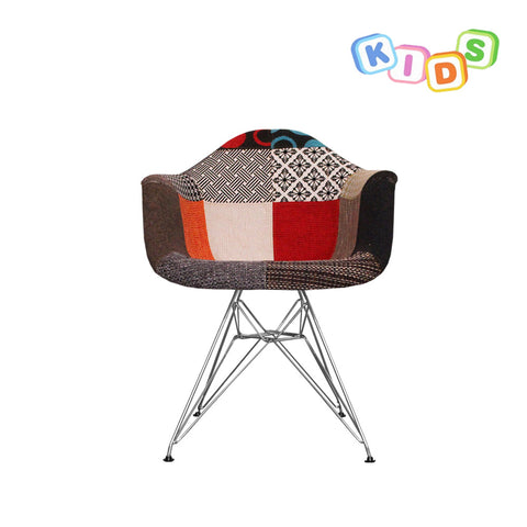 CHARLES EAMES Style Patchwork Fabric Kids DAR Armchair - directhomeliving